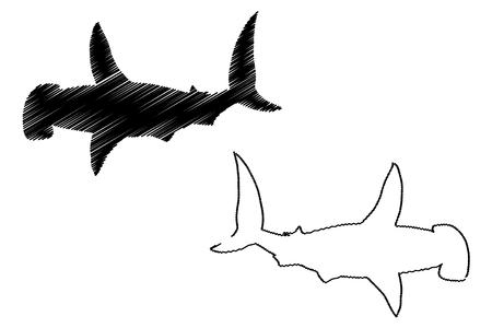 Shark hammerhead silhouette vector, silhouette fish, Illustration