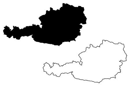 Austrian map vector illustration, scribble sketch  France map