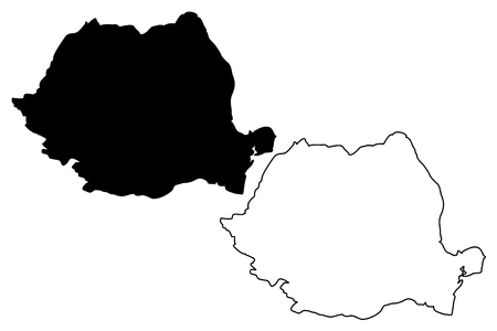 Roemenië kaart vectorillustratie, Krabbel schets Roemenië