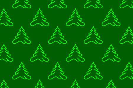 구과 맺는 나무 - 벡터 패턴, 녹색 배경에 녹색 나무
