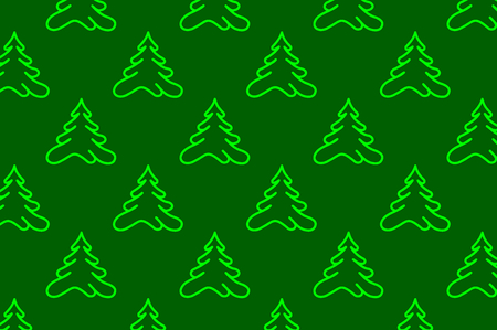 Coniferous tree - vector pattern, Green tree on a green background Иллюстрация