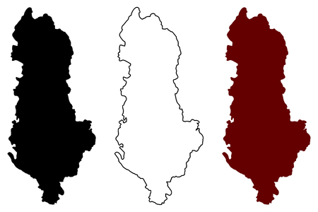 Albania map vector illustration, scribble sketch Albania