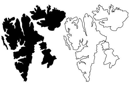 Svalbard map vector illustration, scribble sketch Spitsbergen Islands Vetores