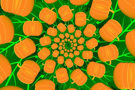 Ripe pumpkin on green leaves - vector pattern, Ripe orange pumpkins - vector illustration,