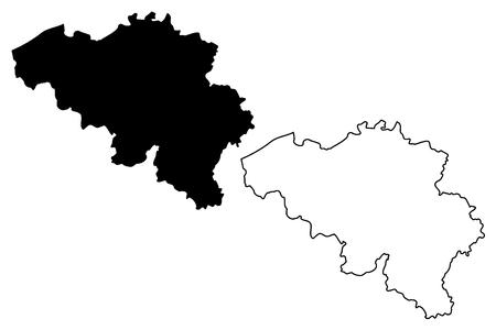 Belgian map vector illustration, scribble sketch Belgian