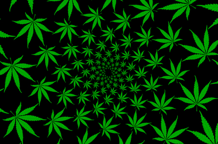 Green marijuana leaves - vector pattern , Cannabis plant background