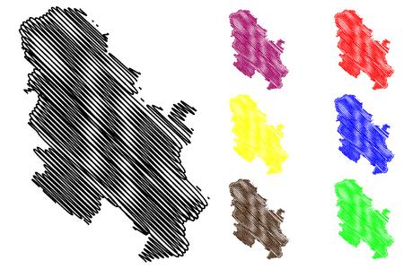 Serbia map vector illustration, scribble sketch Serbia