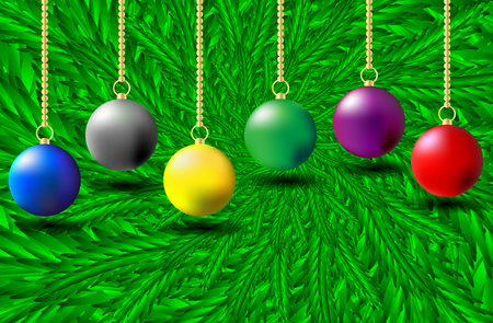 Colorful Christmas balls on green needles - vector pattern, Christmas decorations and green spruce branches,