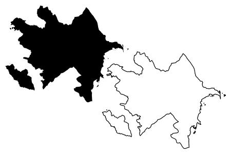 Azerbaijan map illustration. Illustration