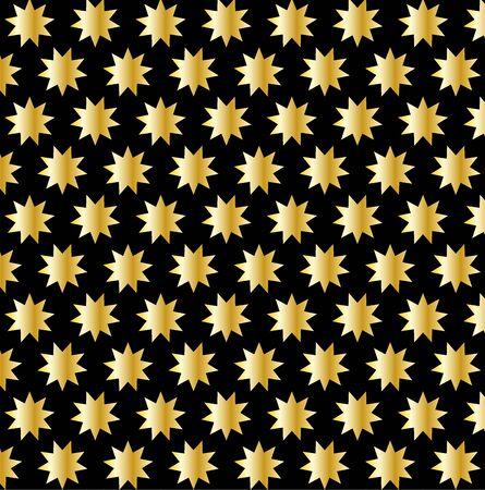 Golden nine pointed star pattern. Illustration