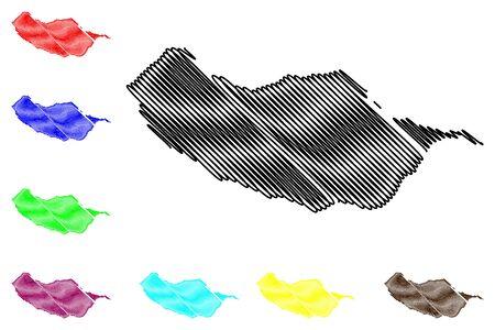 Madeira island map vector illustration, scribble sketch Madeira