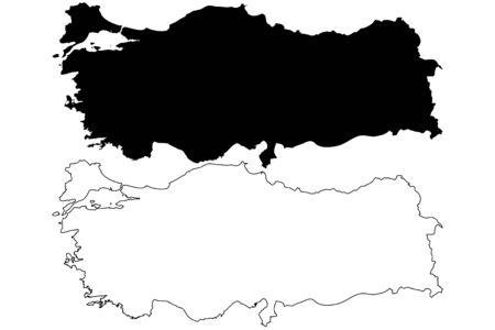 De kaart vectorillustratie van Turkije, gekrabbelschets Turkije Stock Illustratie
