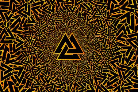 Valknut vector pattern, Valknut golden on a black background Illustration