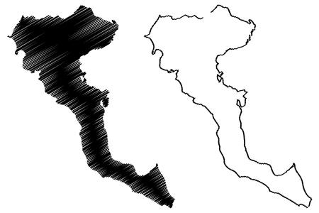 Greek Island of Corfu map vector illustration, scribble sketch  Corfu island Vectores