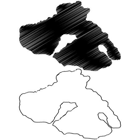 Greek Island of Lesbos (Lesvos) map vector illustration, scribble sketch  Lesbos island Illustration