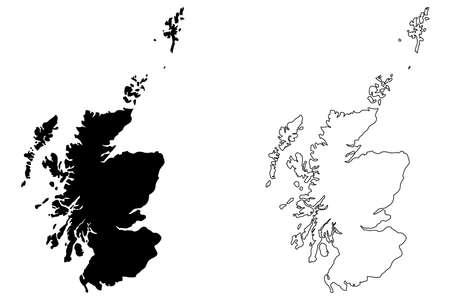 Illustration vectorielle de l'Écosse carte, croquis de scribble Carte de l'Écosse