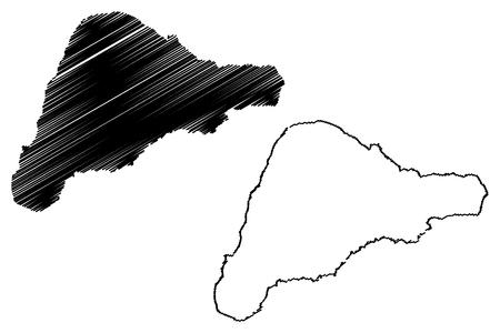 Rapa nui mapa de la isla de vector ilustración de la isla de pascua del bosquejo del bosquejo Foto de archivo - 85362962