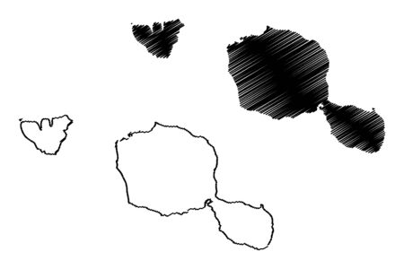 タヒチ島地図ベクトル図、フリーハンド スケッチ タヒチ