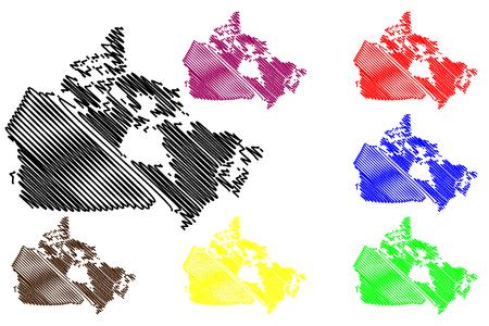 Canada map vector illustration, scribble sketch Canada