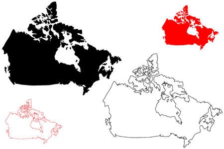 Canada map vector illustration, scribble sketch Canada