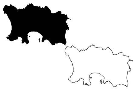 Jersey island map.
