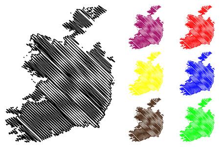Ireland map vector illustration, scribble sketch Republic of Ireland map Illustration
