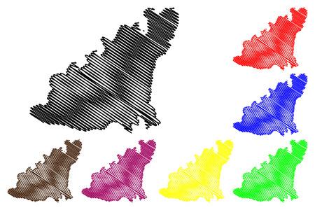 violet red: Scribble sketch Guernsey map.