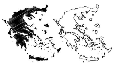 Greece map vector illustration, scribble sketch Greece map Illustration
