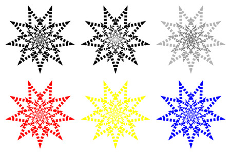 Nine-pointed abstract star - vector pattern - set,