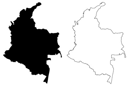 Colombia map vector illustration, scribble sketch Colombia