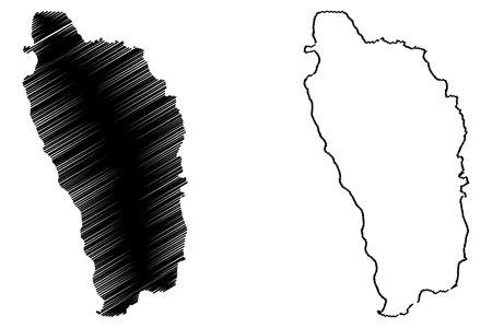 Dominica map vector illustration, scribble sketch Dominica island