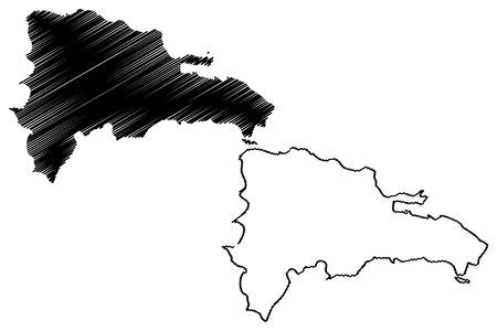 Dominican Republic map vector illustration, scribble sketch Dominican Republic Illustration