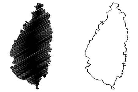 windward: Saint Lucia island map vector illustration, scribble sketch Saint Lucia Illustration
