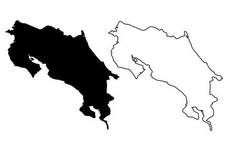 コスタリカ地図ベクトル図、フリーハンド スケッチ コスタリカ