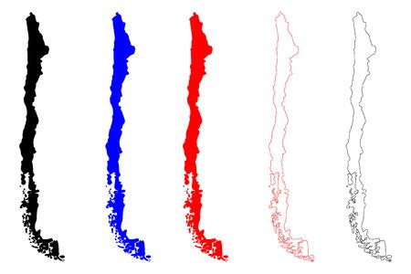칠레지도 아이콘 집합입니다. 일러스트