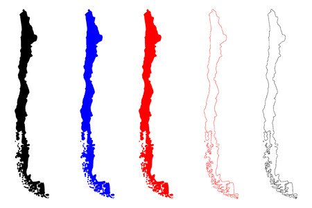 Set of Chile maps icon.