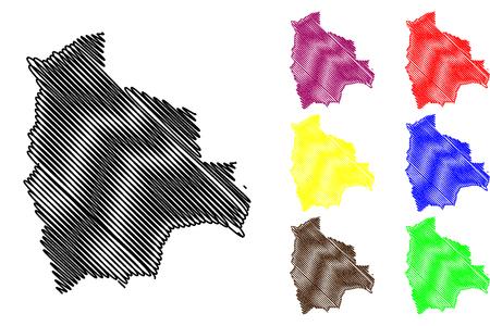 Bolivia map vector illustration, scribble sketch Bolivia
