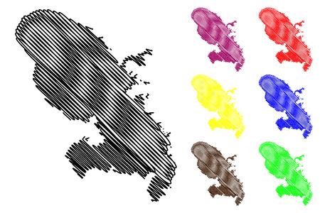 Martinique island map vector illustration, scribble sketch Martinique