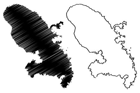 Martinique island map vector illustration, scribble sketch Martinique Vetores