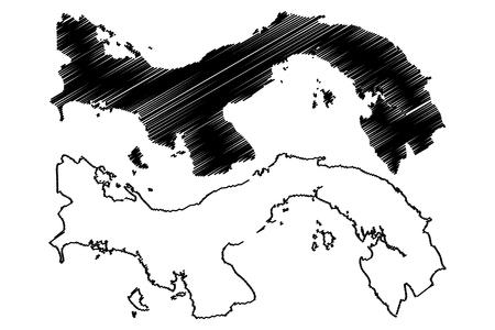 パナマ地図ベクトル図、フリーハンド スケッチ パナマ