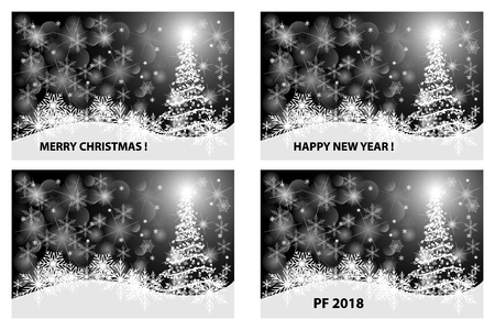 Merry Christmas, Happy New Year, PF 2018, in white and black vector set