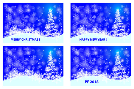 Merry Christmas, Happy New Year, PF 2018 in white and blue vector set
