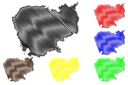 Scribble sketch of Cambodia map vector illustration