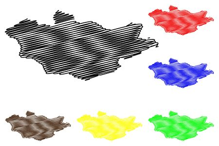 Scribble sketch of Mongolia map vector illustration Illustration