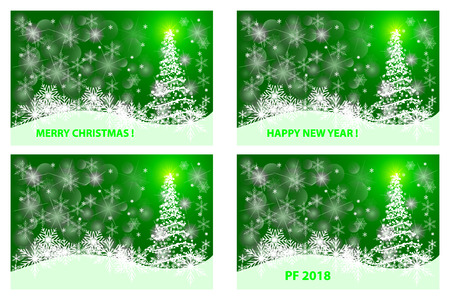 Merry Christmas, Happy New Year, PF 2018, Christmas card - white and green vector set,