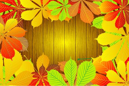 Autumn - Horse chestnut leaves vector background