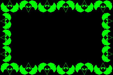Ginkgo leaf frame design. Illustration