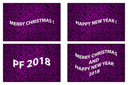 Merry Christmas, Happy New Year, PF 2018, Christmas card - white and purple vector set,