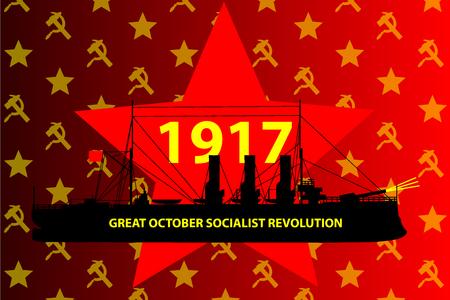 Russian Revolution, Shot of the insurgent cruiser Aurora. Russian revolution began, Great October Socialist Revolution, (October 25, in the Julian calendar, on November 7, according to the Gregorian calendar in 1917). Illustration