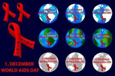 December 1st World AIDS Day - vector logo, red ribbon, Aids Awareness,